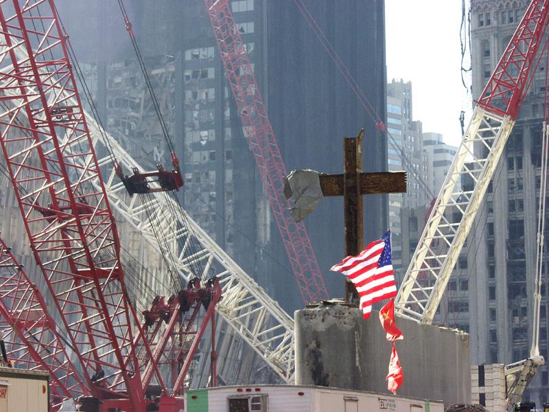 cross in rubble